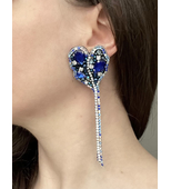Long Earring  with Crystals in Blue color