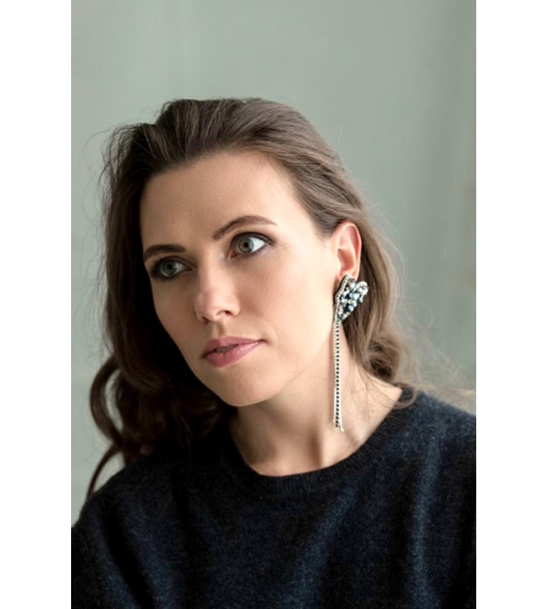 Long Earring  with Crystals in Black color
