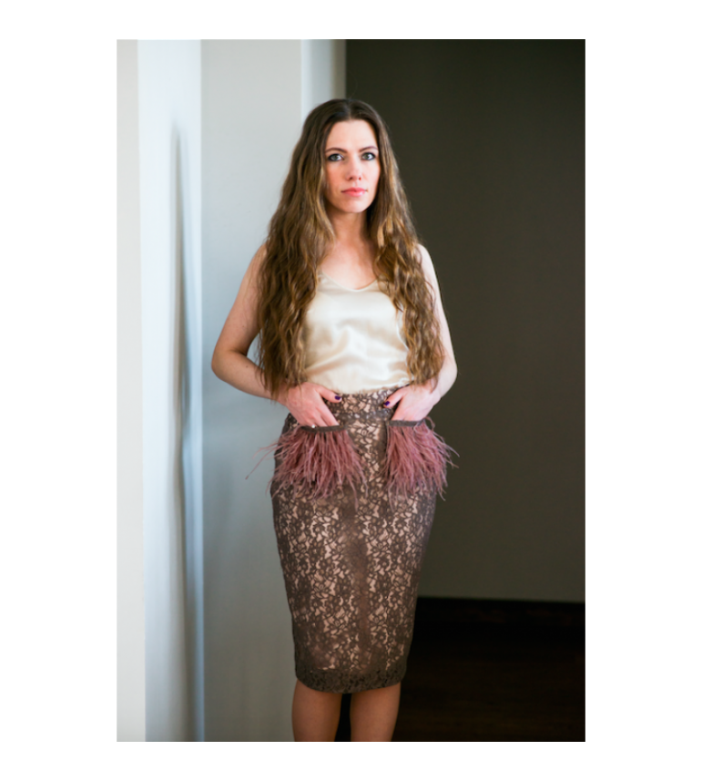 Lace skirt with feathers