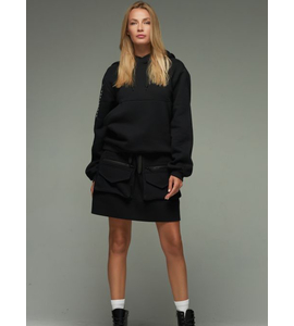 Short Hooded cotton jacket in Black