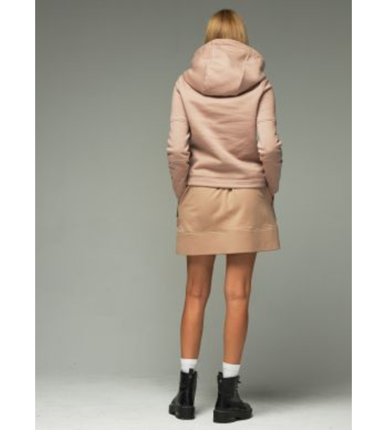 Hooded cotton jacket in beige color