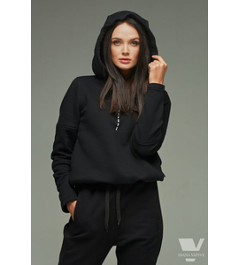 Hooded cotton jacket in black color